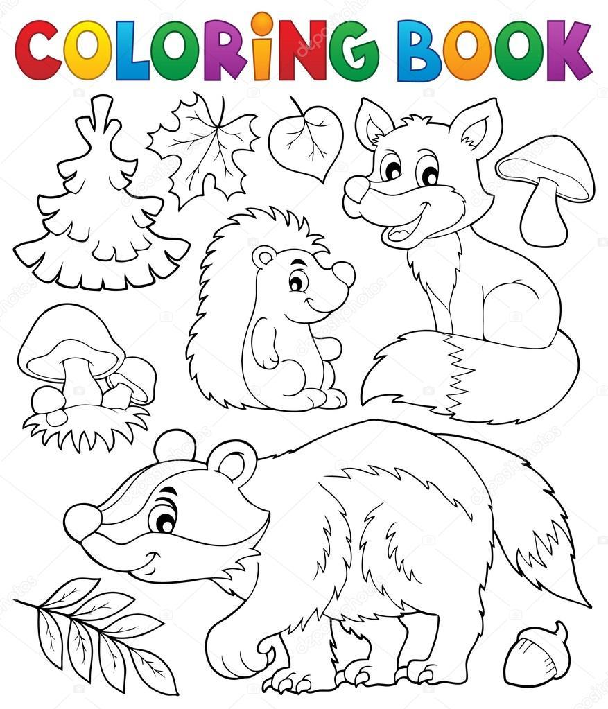 Tema de flora y fauna de bosque para colorear libro 1 — Archivo ...