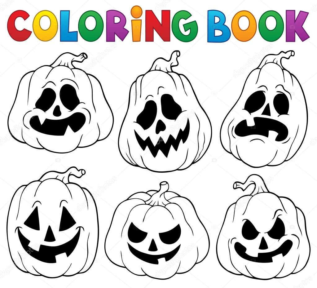 Libro Da Colorare Con Zucche Di Halloween 1 Vettoriali Stock