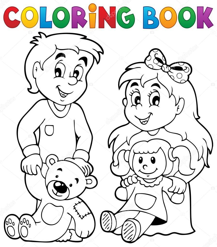 Coloriage Enfants Livre Avec Jouets 1 Image Vectorielle Clairev