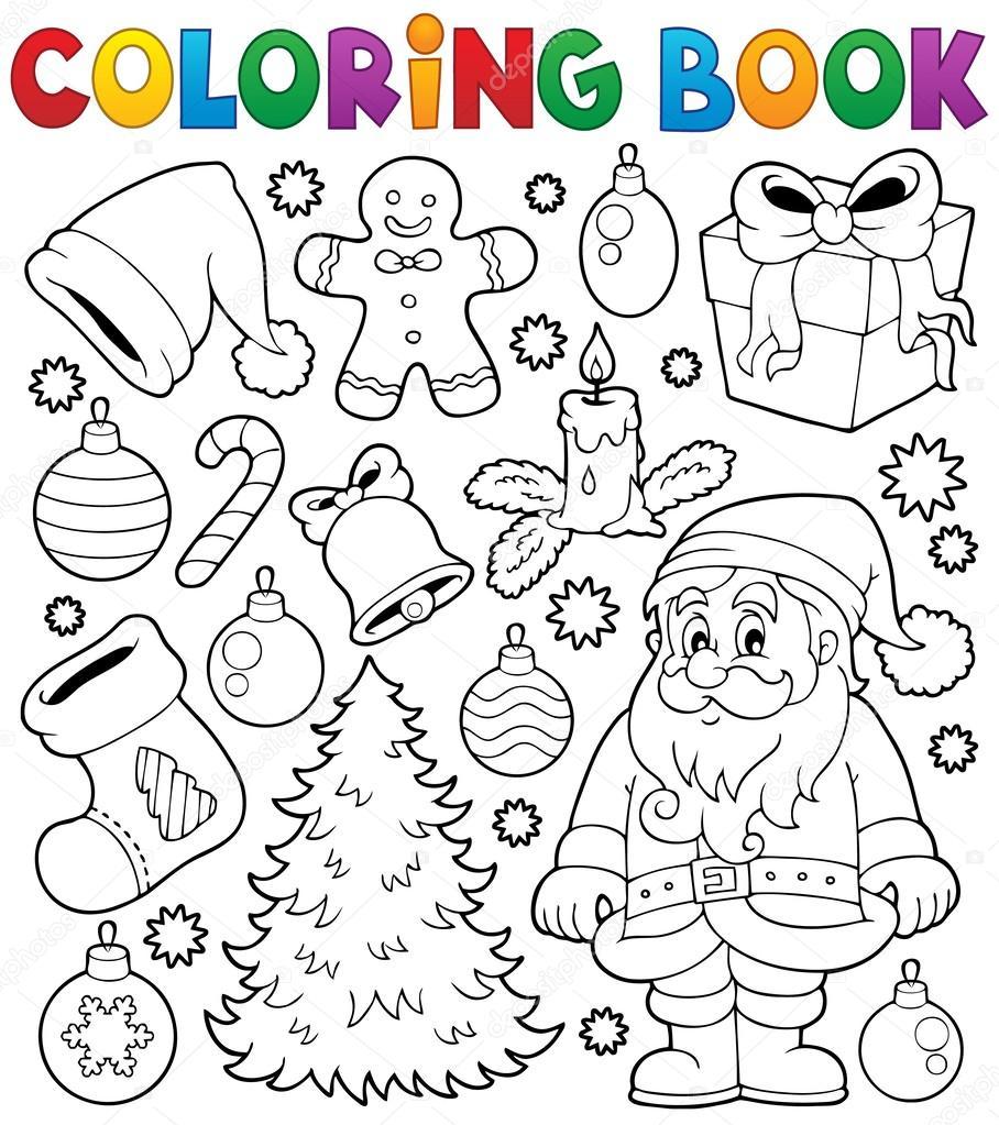 Livre de coloriage no l th matiques 4 image vectorielle - Photo de dessin de noel ...