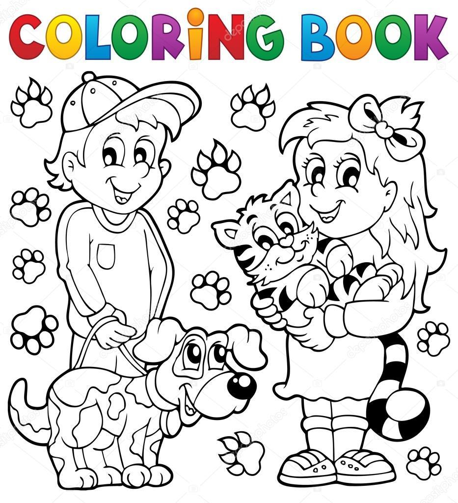 Crianças De Livro Para Colorir Com Animais De Estimação