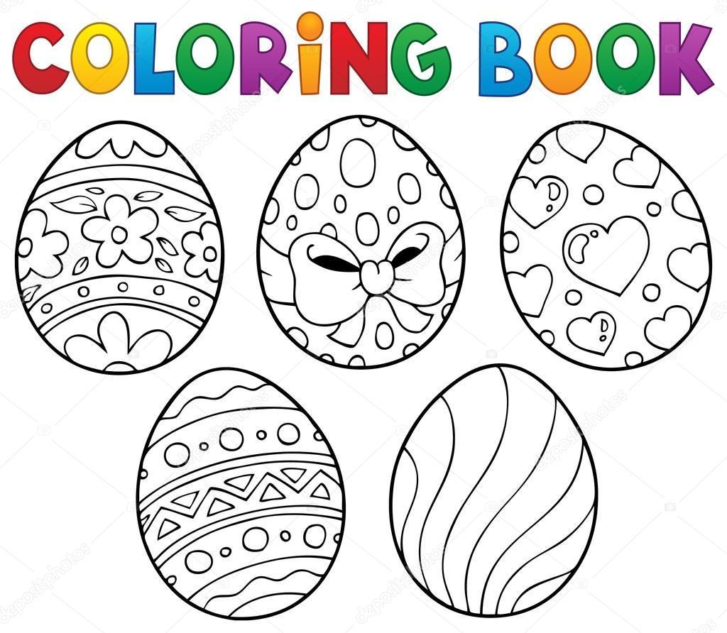 Para colorear tema de huevos de Pascua de libro 1 — Archivo Imágenes ...