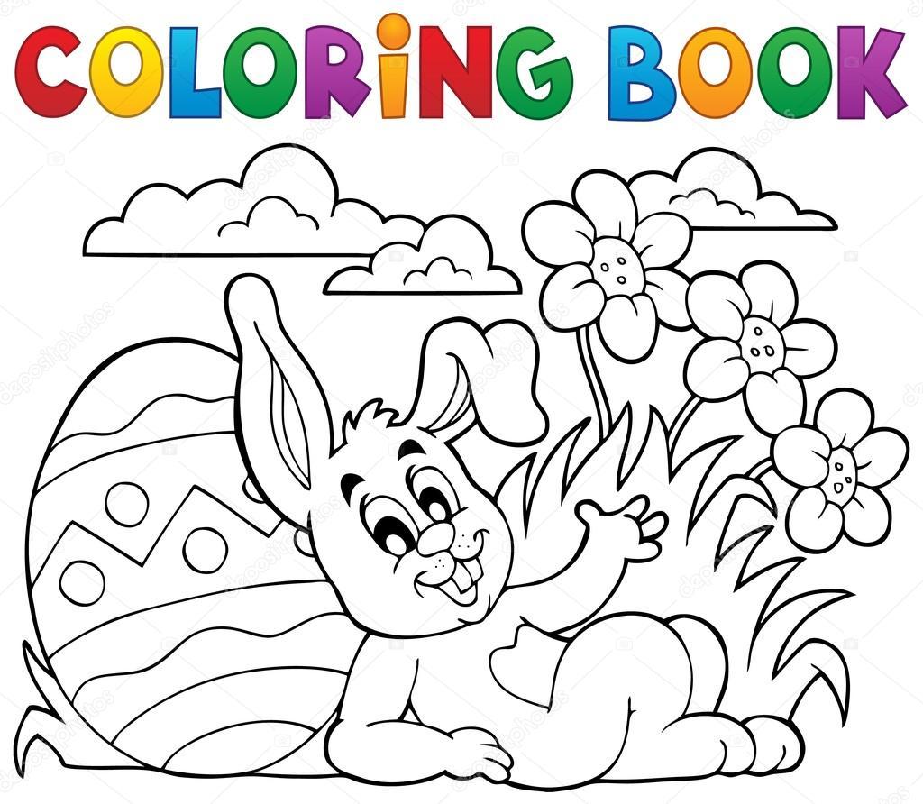 Para colorear tema de conejo de Pascua libro 2 — Vector de stock ...