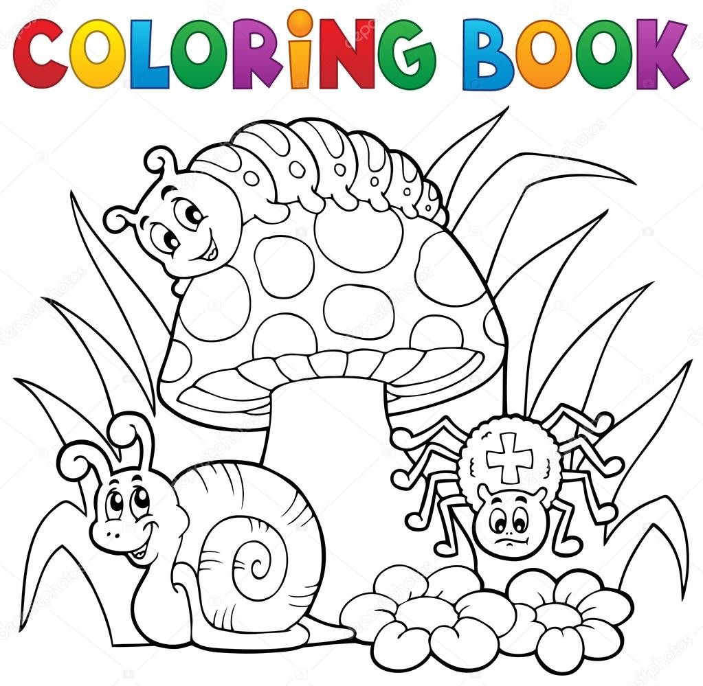 Coloring Book Toadstool With Animals Royalty Free Stock Illustrations
