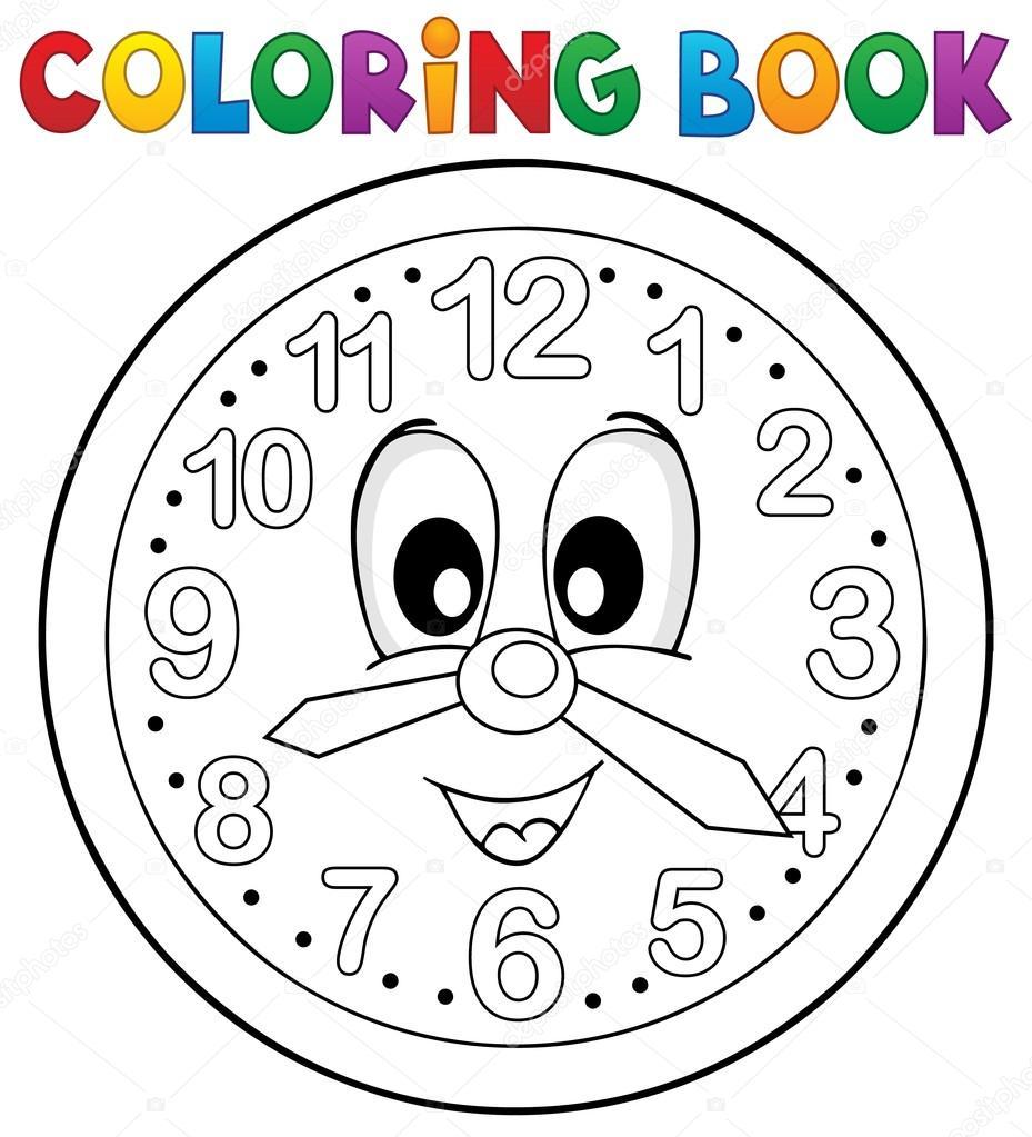 Tema de reloj de libro para colorear 2 — Vector de stock © clairev ...
