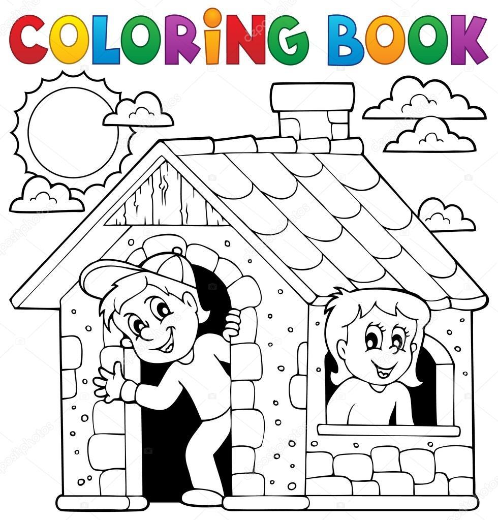 Niños de libro para colorear jugando en casa — Vector de stock ...
