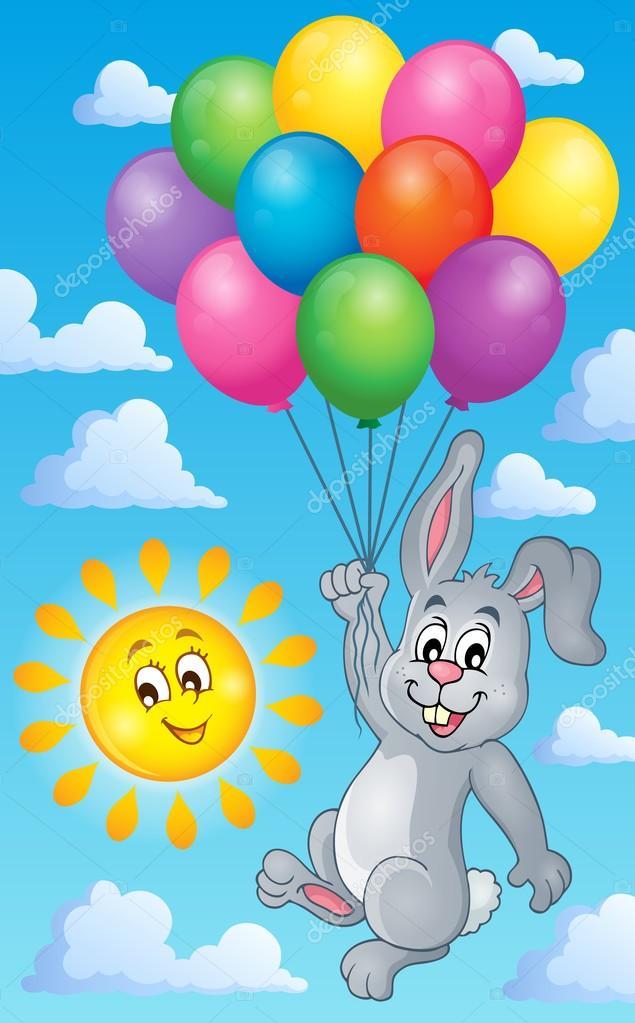 Красивые картинки, открытка заяц с шариками