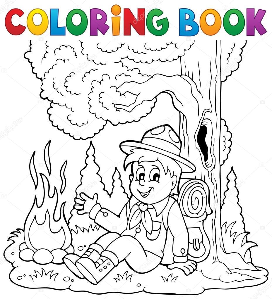 Colorear libro scout boy tema 1 — Archivo Imágenes Vectoriales ...