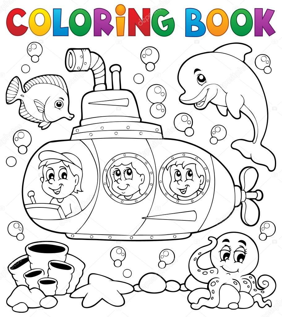 Coloring Book Submarine Theme 1 Stock Vector C Clairev 69194901