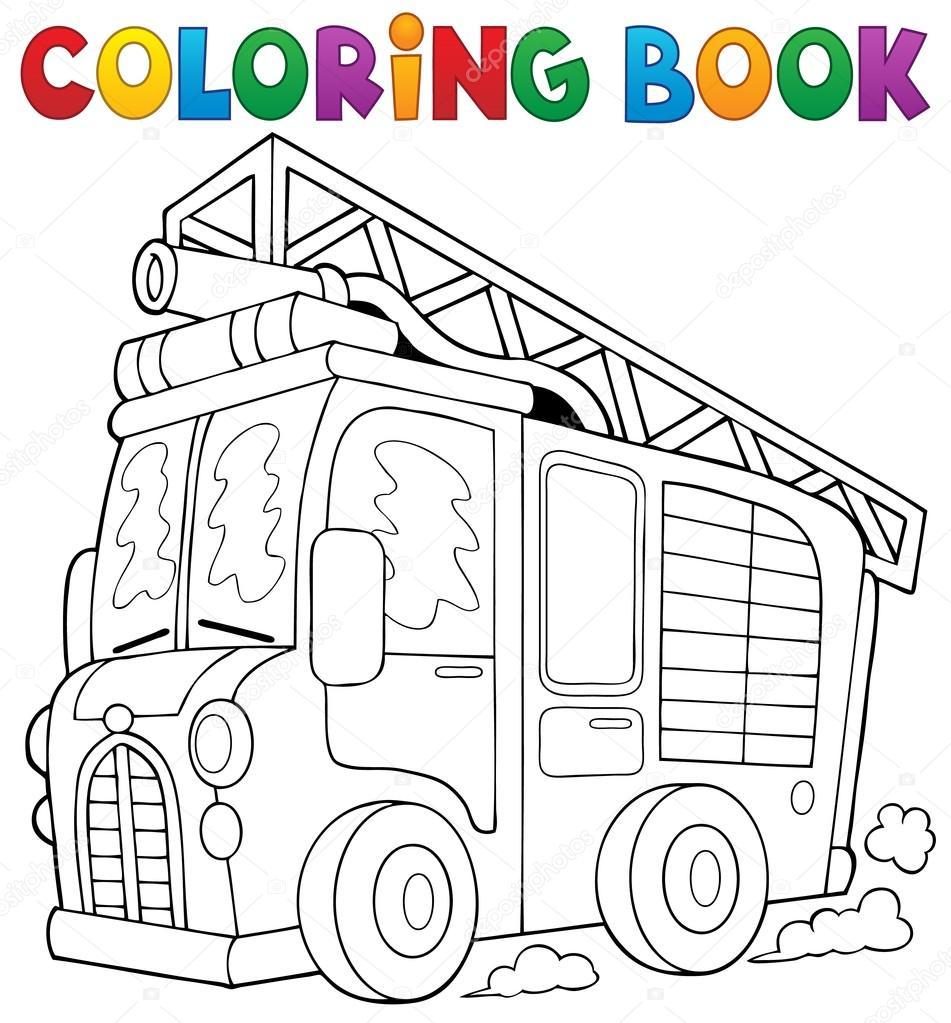 Tema de camión de bomberos para colorear libro 1 — Archivo Imágenes ...