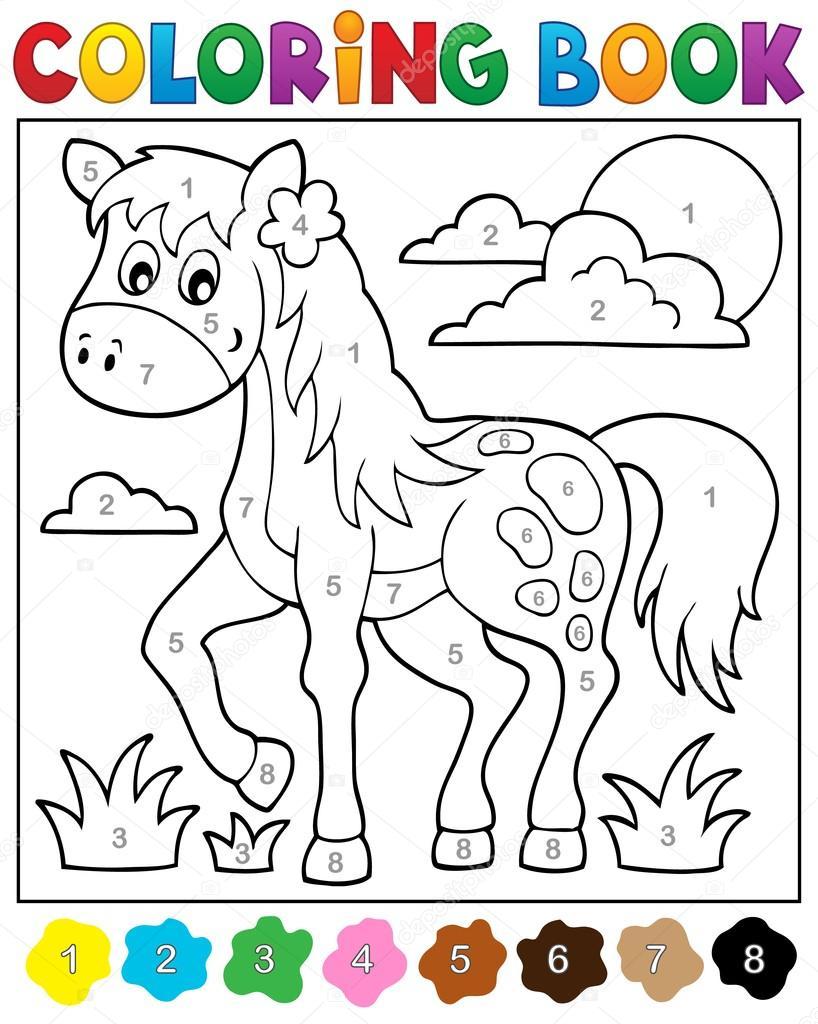 Libro para colorear con caballo — Vector de stock © clairev #73113033