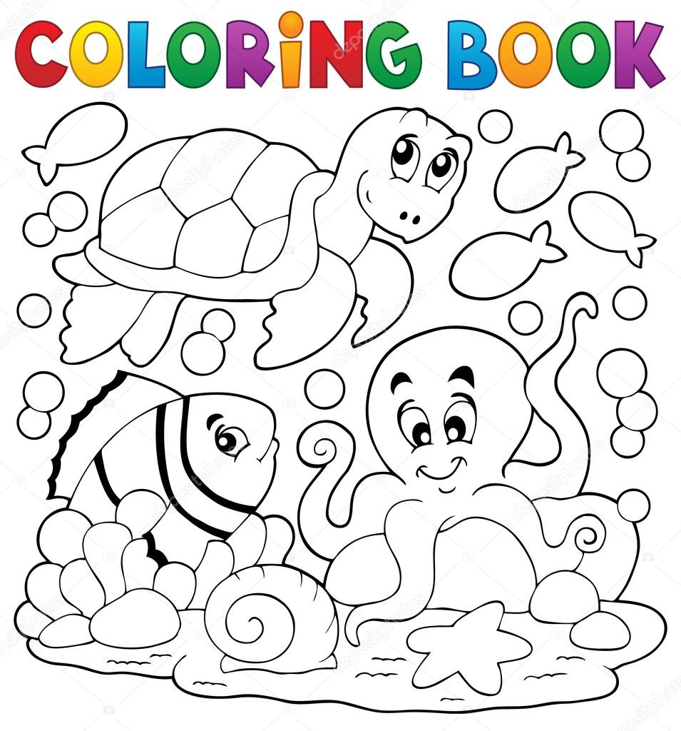 Libro para colorear con animales marinos 5 — Vector de stock ...