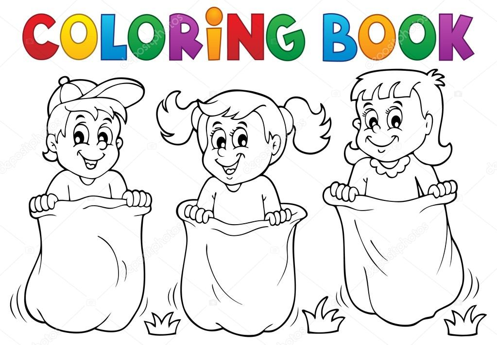 Coloring Book Children Playing Theme 1