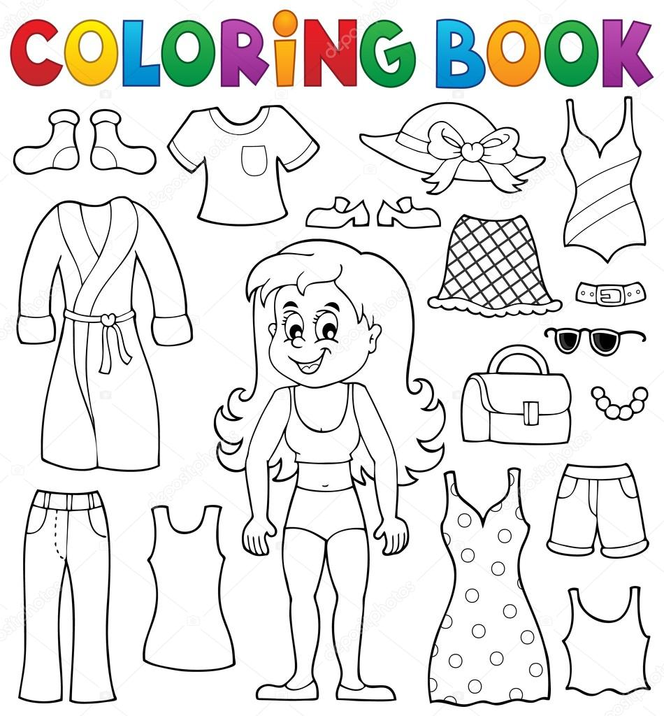 Chica de libro para colorear con tema de ropa 1 — Vector de stock ...