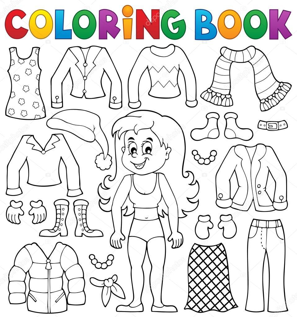 Chica de libro para colorear con el tema de la ropa 2 — Archivo ...