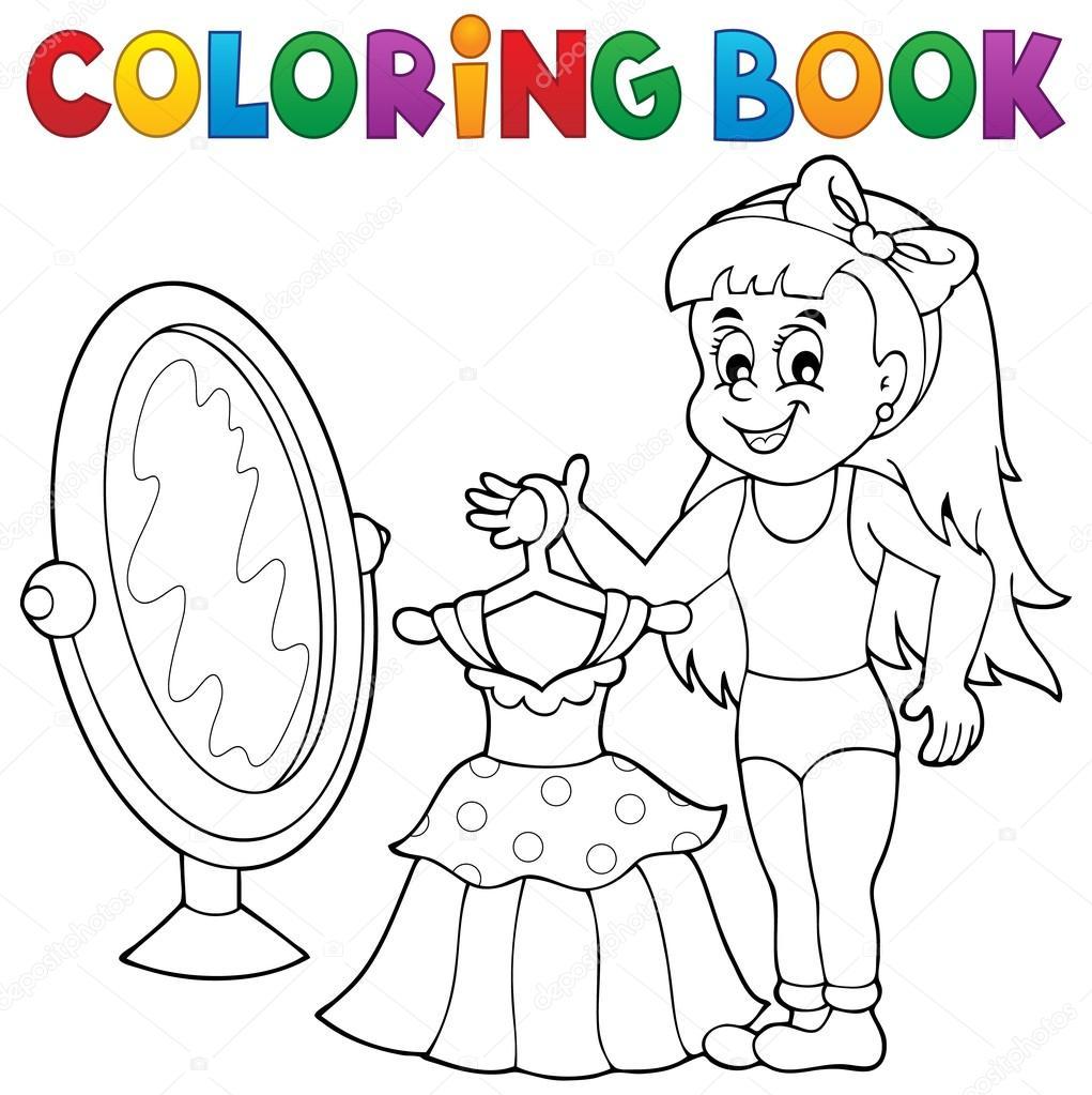 Kitap Kız Elbise Tema Ile Boyama Stok Vektör Clairev 79094942