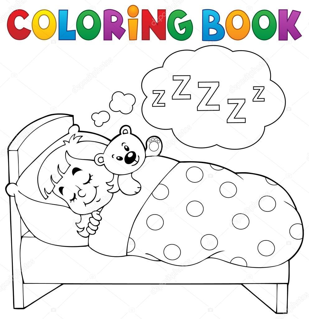 Libro para colorear tema niño 1 el dormir — Archivo ...