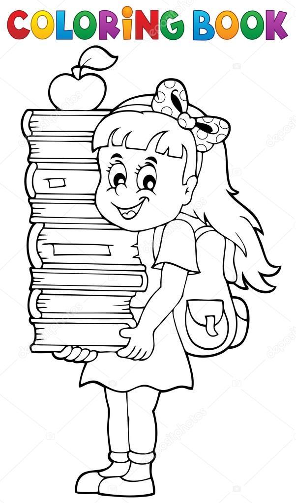 Libro para colorear con chica celebración libros — Archivo Imágenes ...