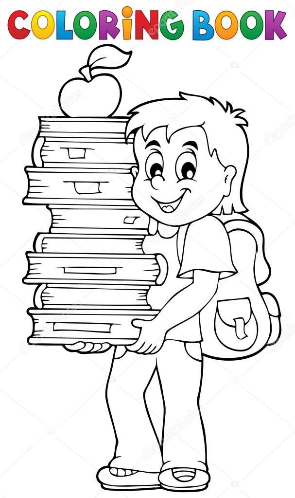 Libro para colorear con boy holding libros — Vector de stock ...