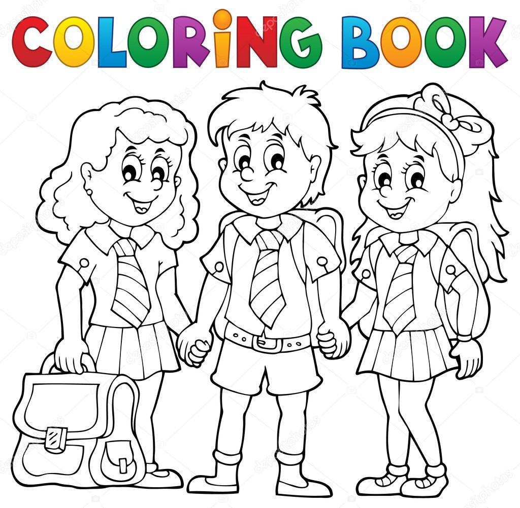 Livre De Coloriage Avec Des élèves De L école Image