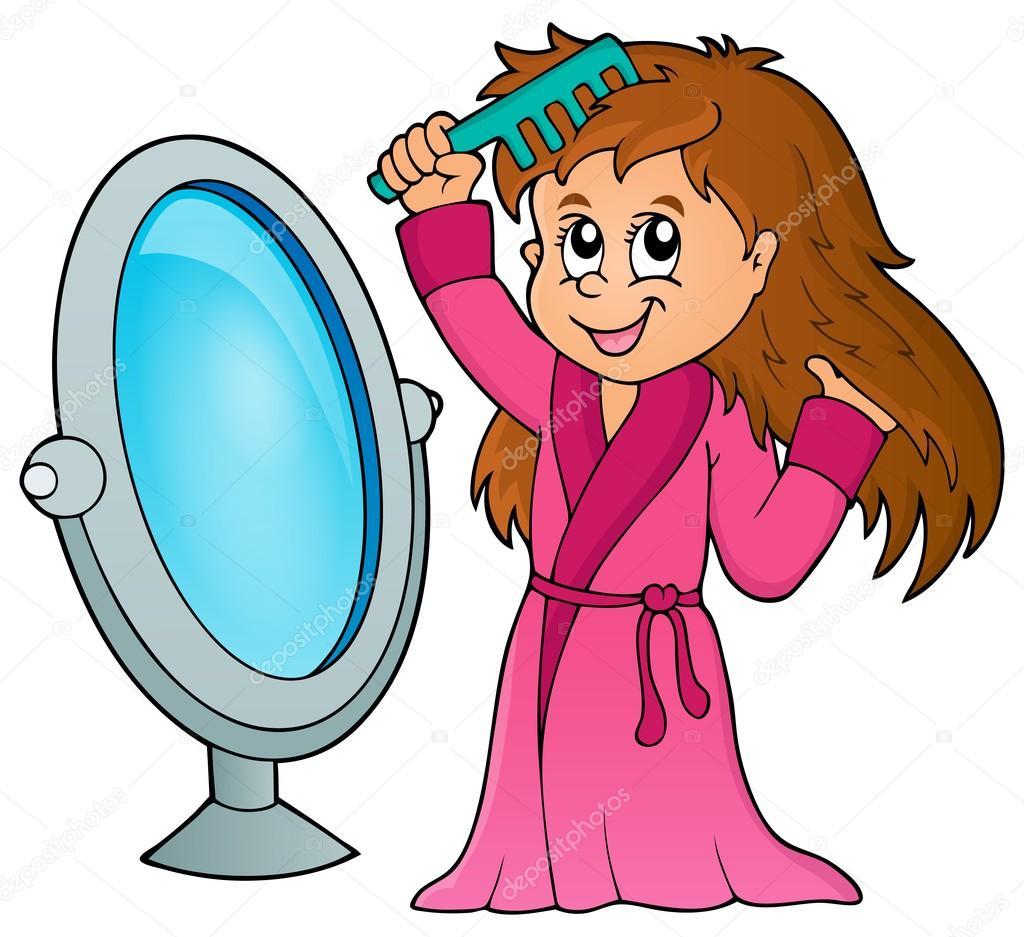 Mädchen Kämmen Haare Thema 1 — Stockvektor #79095062
