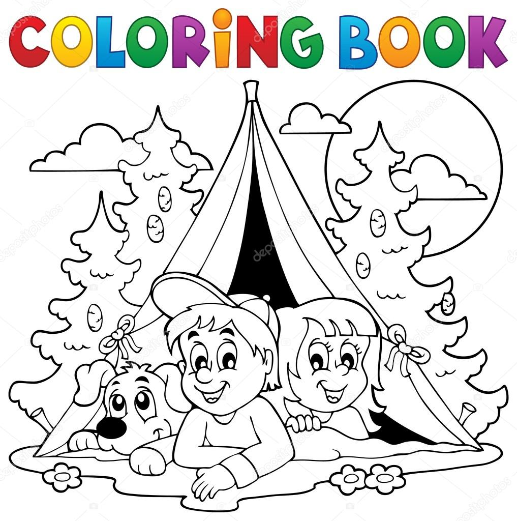 Coloring book kids camping in forest — Stock Vector © clairev #80472632