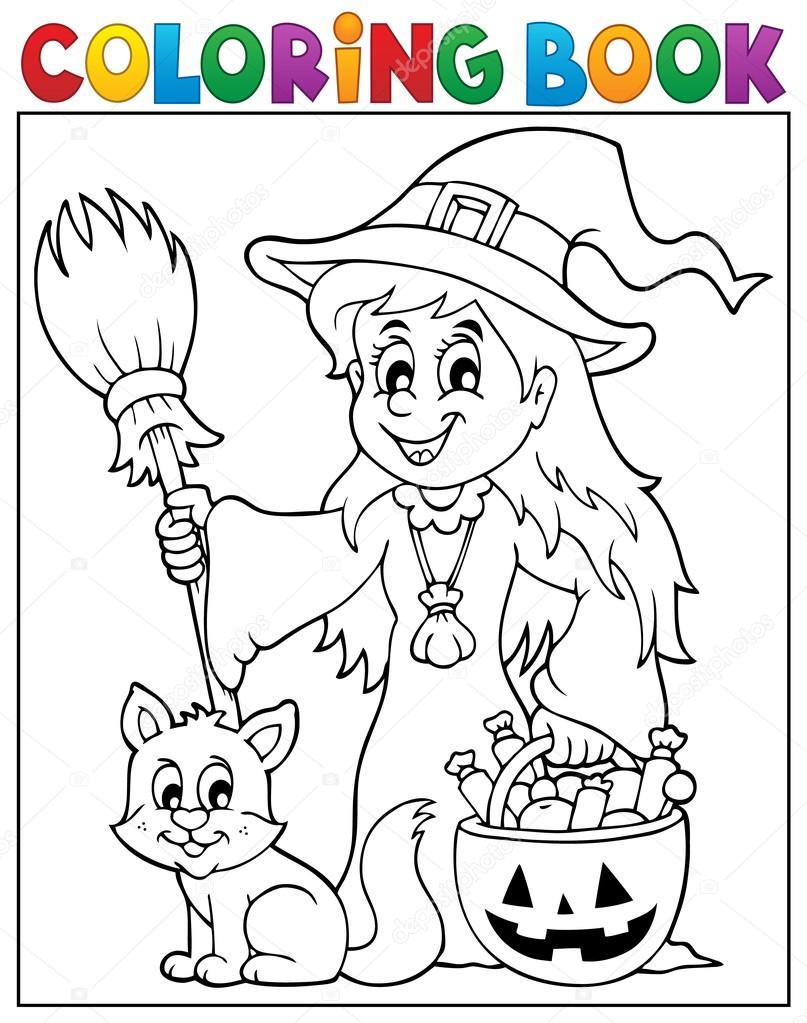 Buch süße Hexe und Katze Färbung — Stockvektor © clairev #81563154