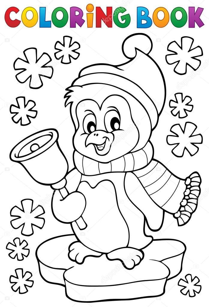 Para colorear tema de pingüino de Navidad libro 1 — Archivo Imágenes ...