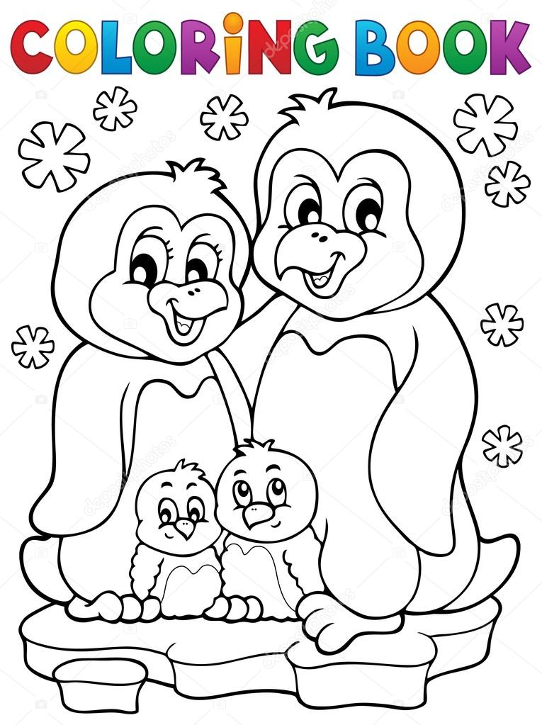 Para colorear tema libro de la familia pingüino 1 — Archivo Imágenes ...