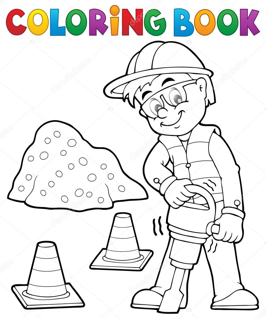 Coloring book construction worker 3 — Stock Vector © clairev #87227778