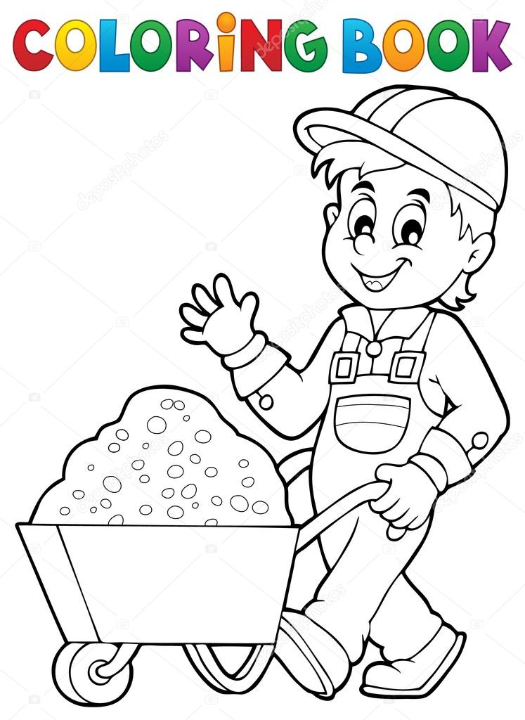 Coloring book construction worker 1 — Stock Vector © clairev #87227782
