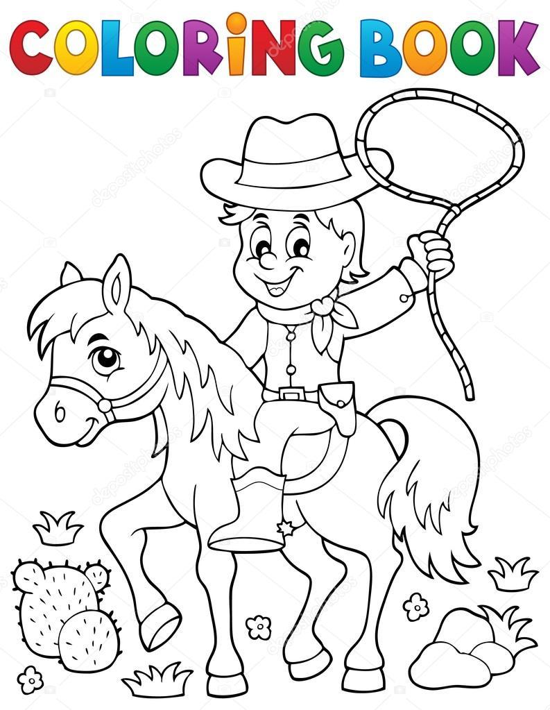 Vaquero de libro para colorear tema caballo 1 — Archivo Imágenes ...
