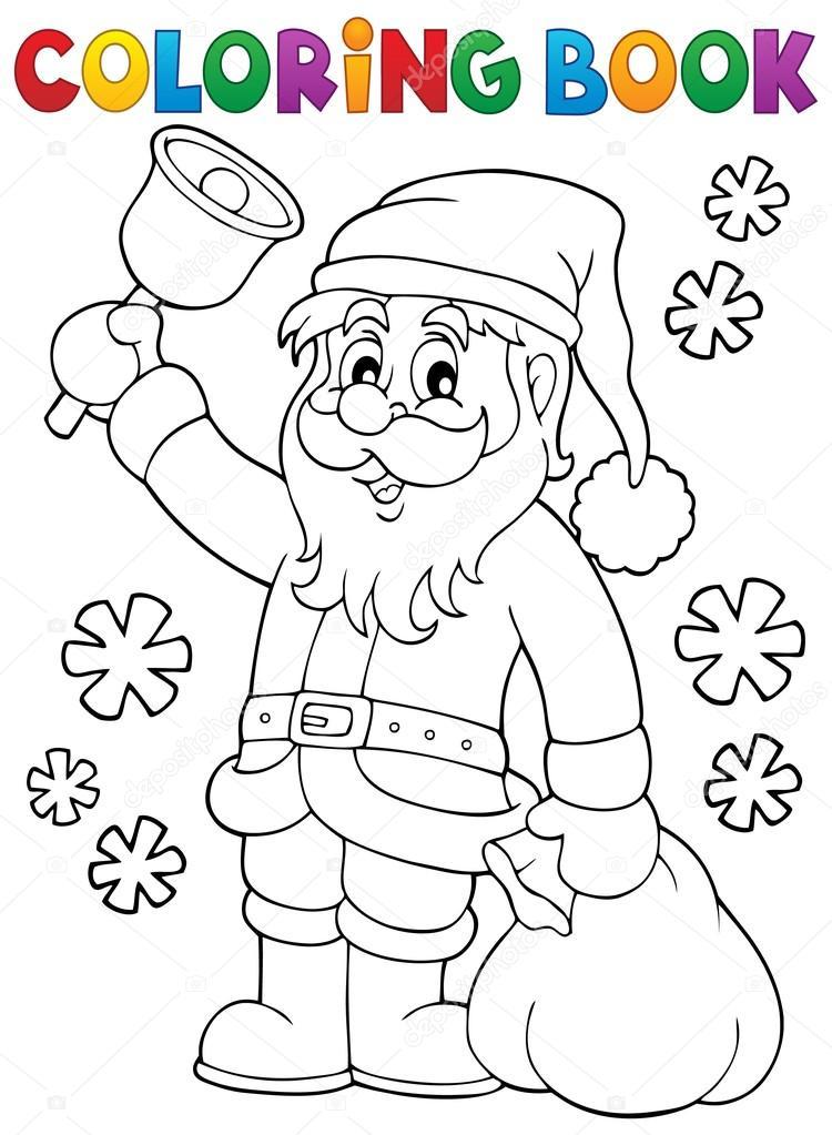 Libro para colorear Santa Claus con campana — Archivo Imágenes ...