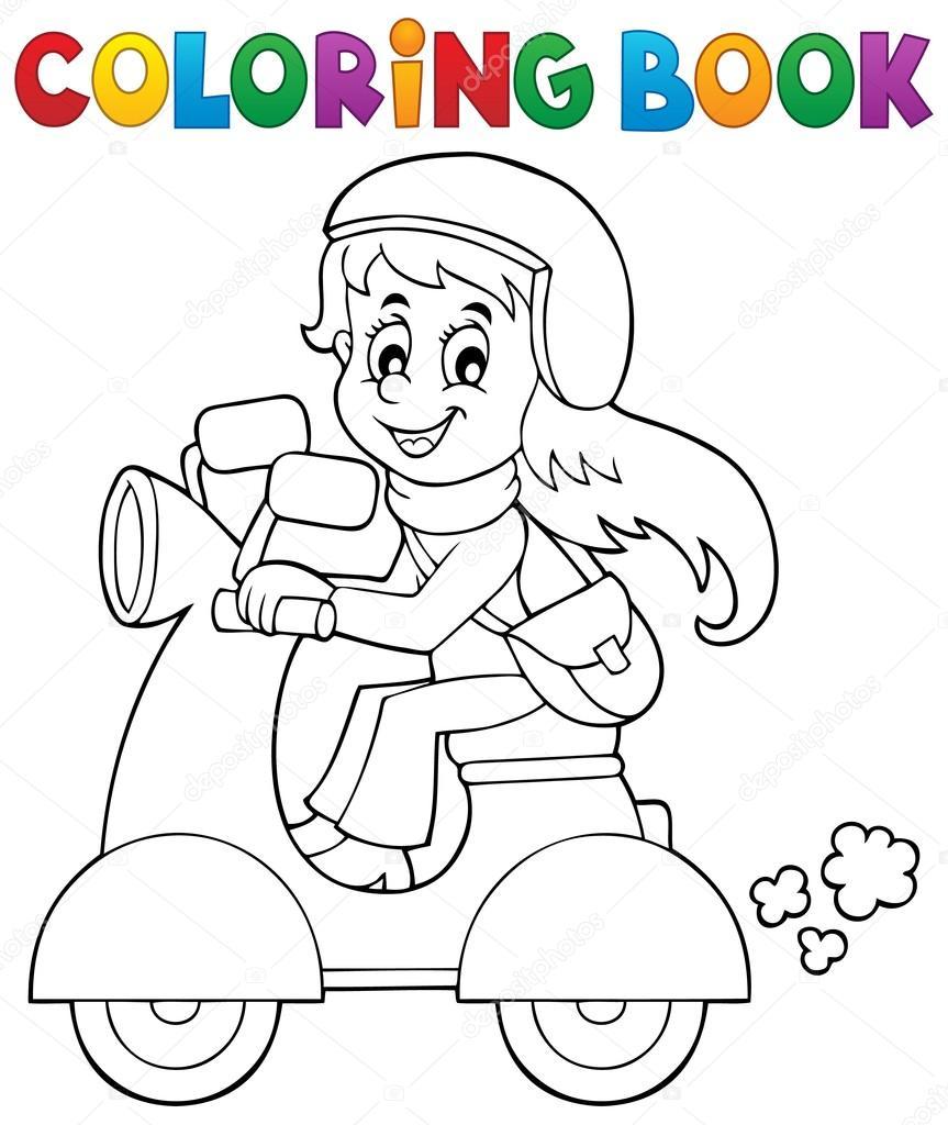 Disegni Da Colorare Libro Ragazza Sul Motorino Di Motore