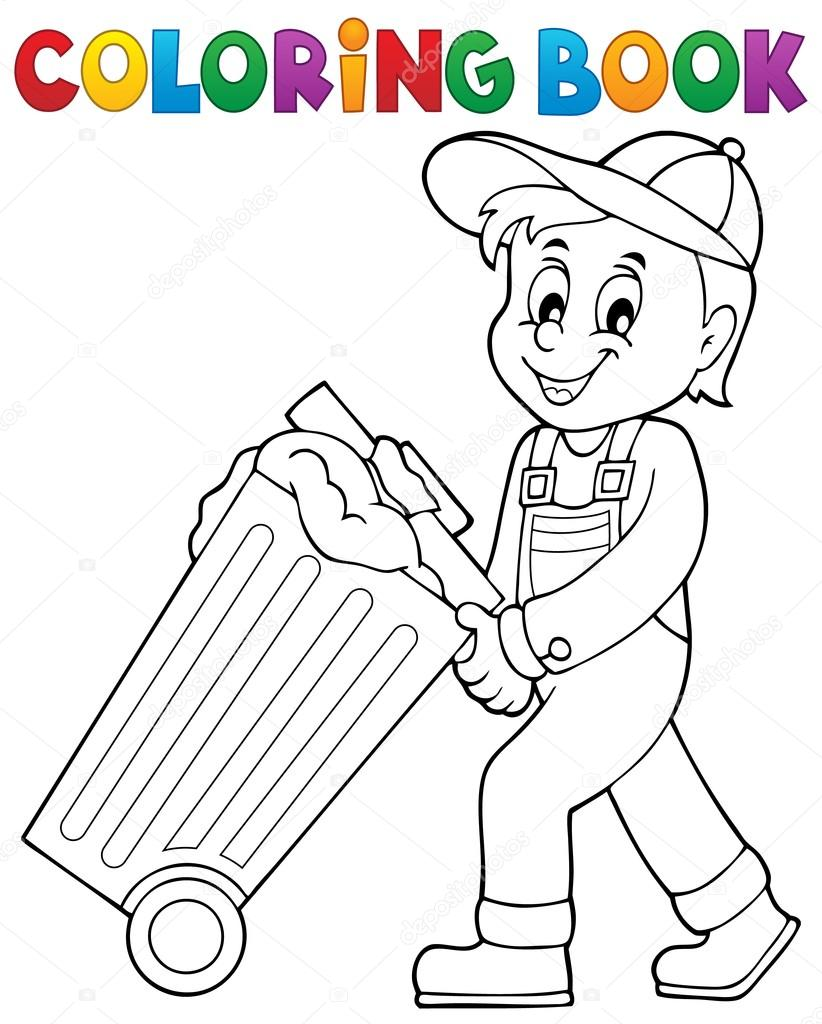 kleuren boek vuilnisman thema 1 stockvector 169 clairev