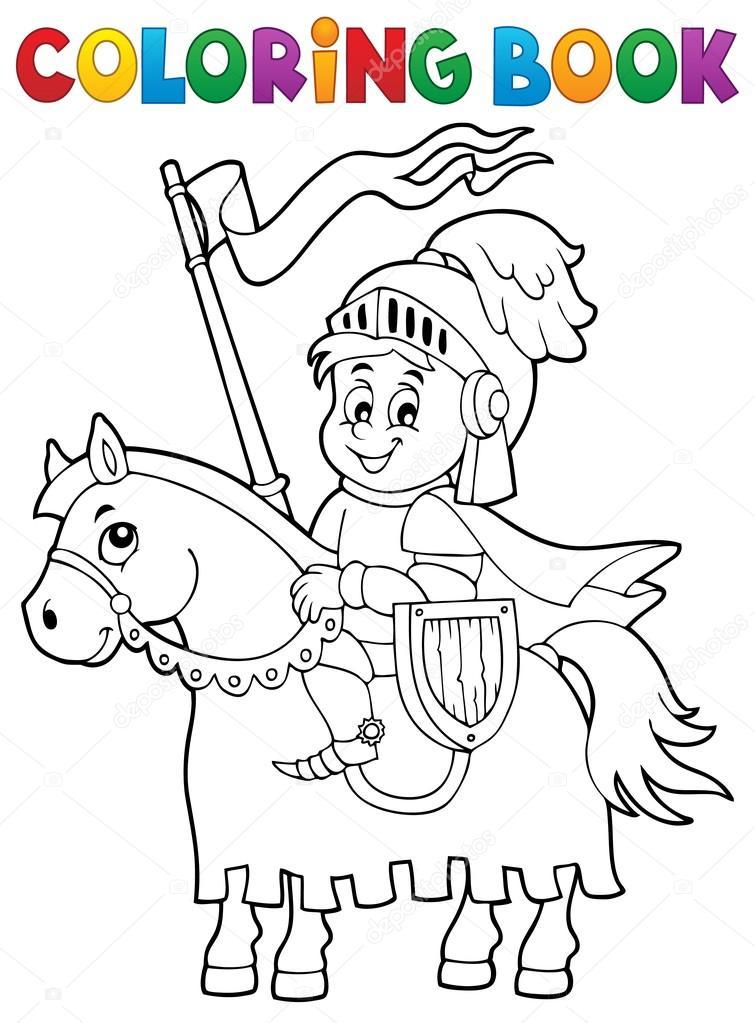Caballero de libro para colorear tema caballo 1 — Archivo Imágenes ...