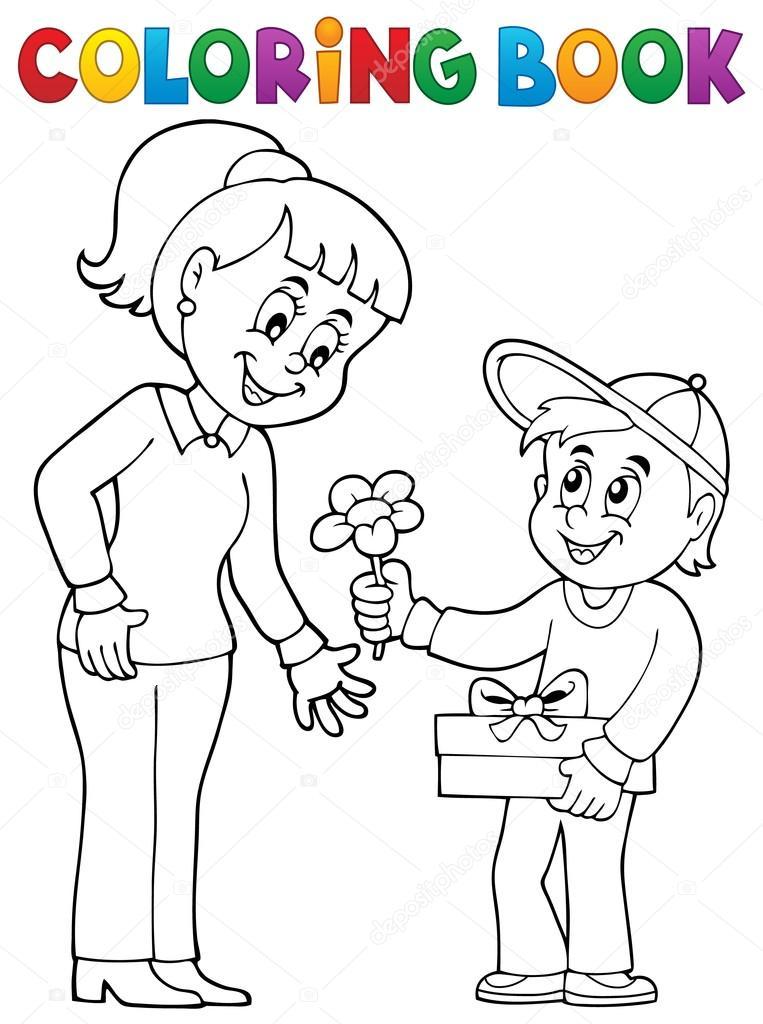 Kitap Anneler Günü Tema 2 Boyama Stok Vektör Clairev 90122516