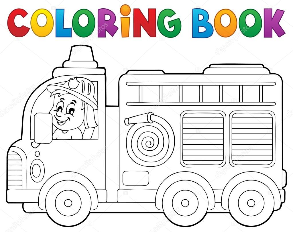 Tema de camión de bomberos para colorear libro 2 — Archivo Imágenes ...