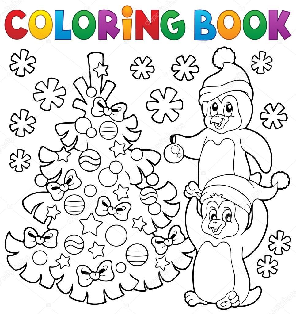 Pingüinos de libro para colorear de árbol de Navidad — Archivo ...