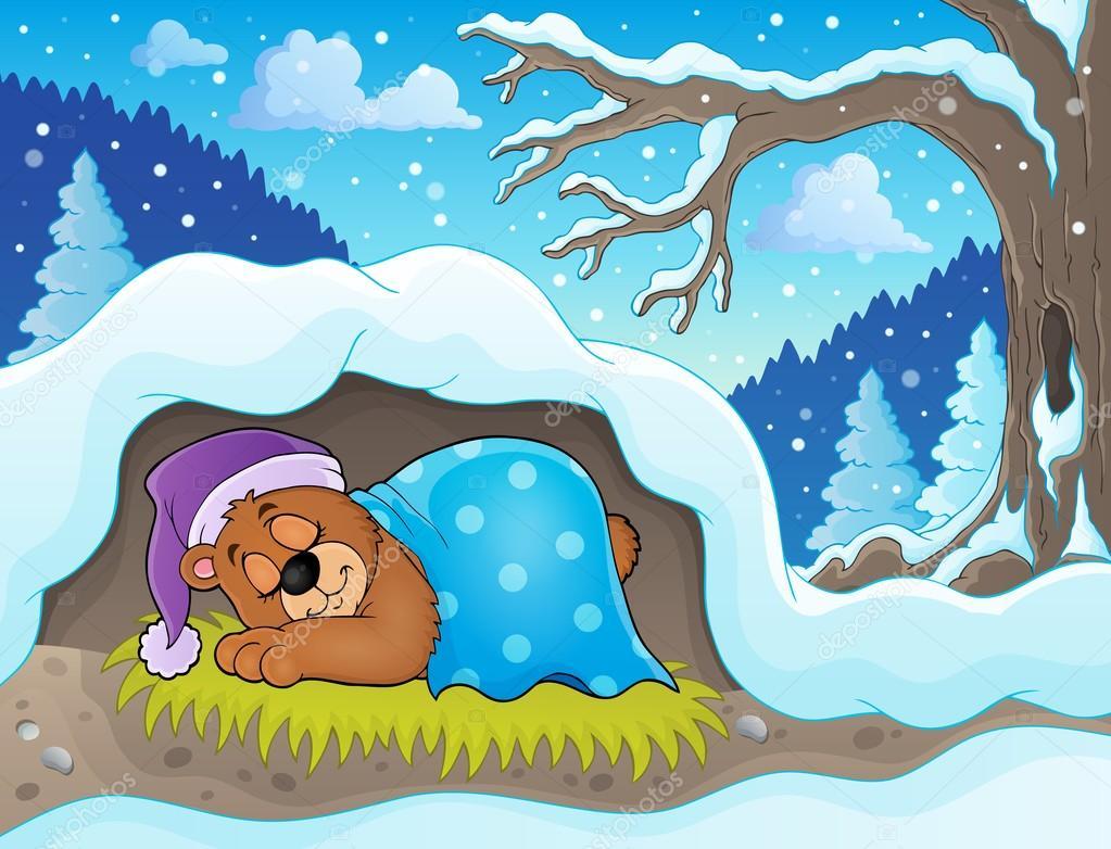 Картинка медведь спит зимой для детей