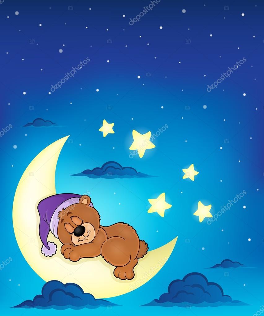 Мишки спят на луне картинки