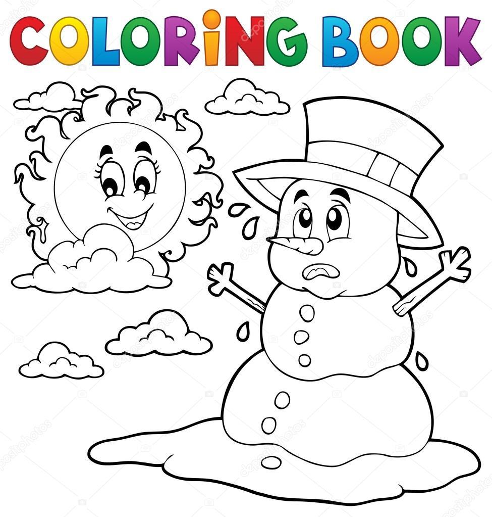 Libro para colorear muñeco de nieve 1 de fusión — Vector de stock ...
