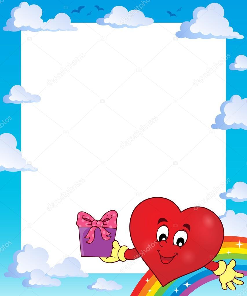 Marco con el tema corazón estilizado 3 — Vector de stock © clairev ...