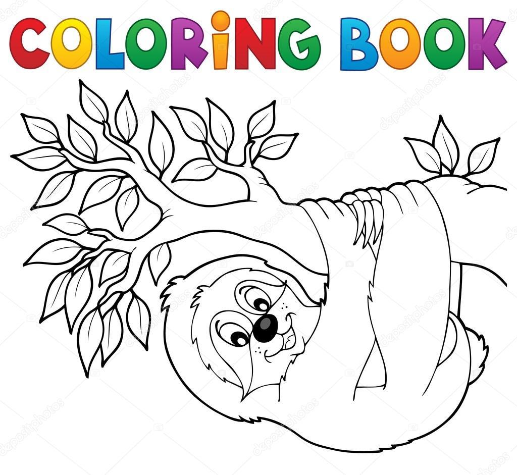 Para colorear pereza de libro en rama — Vector de stock © clairev ...