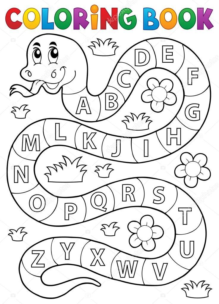 Buch-Schlange mit Alphabet Thema Färbung — Stockvektor © clairev ...