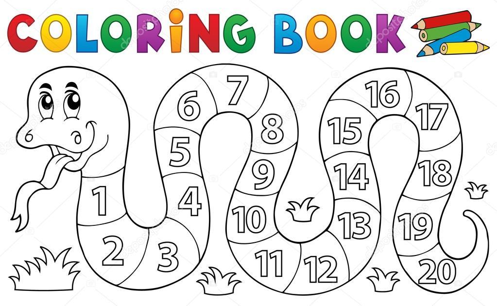 disegni da colorare libro serpente con tema di numeri On disegni da colorare con i numeri