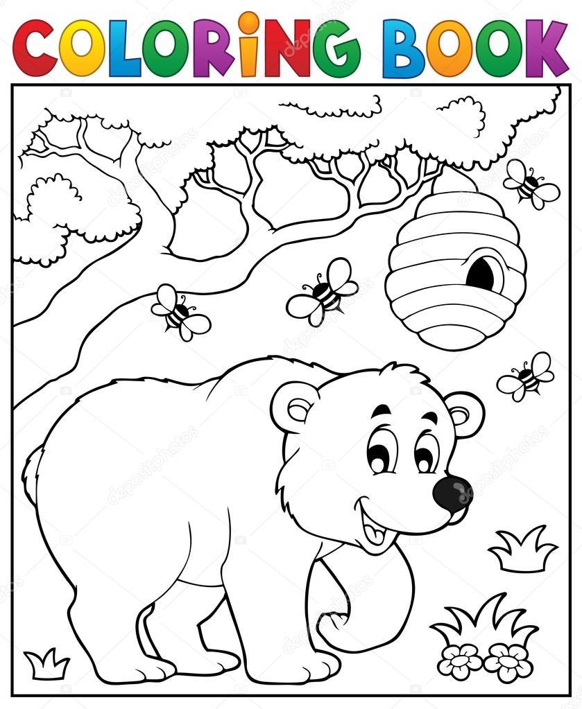 Tema de oso de libro para colorear 3 — Archivo Imágenes Vectoriales ...