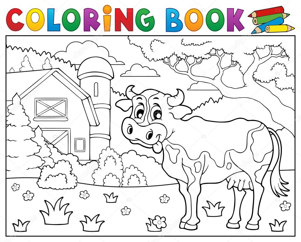 Coloring book cow near farm theme 2 — Stock Vector © clairev #99637340