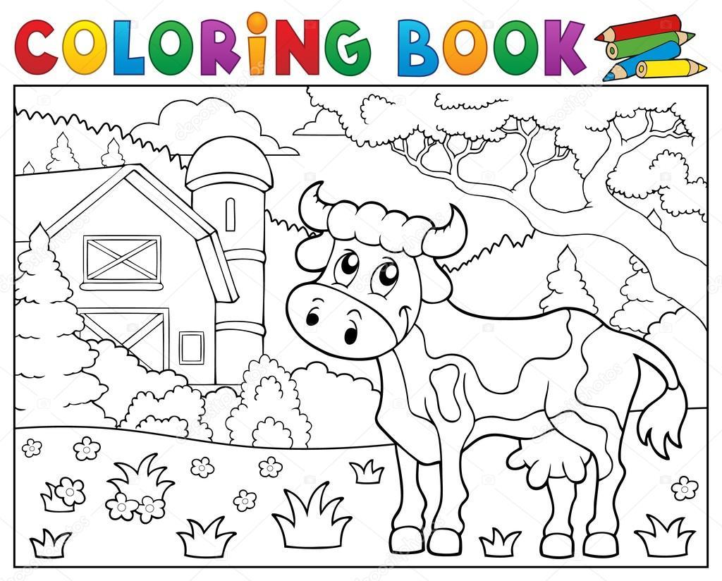 Boyama Kitabı Inek Yakınındaki çiftlik Tema 1 Stok Vektör