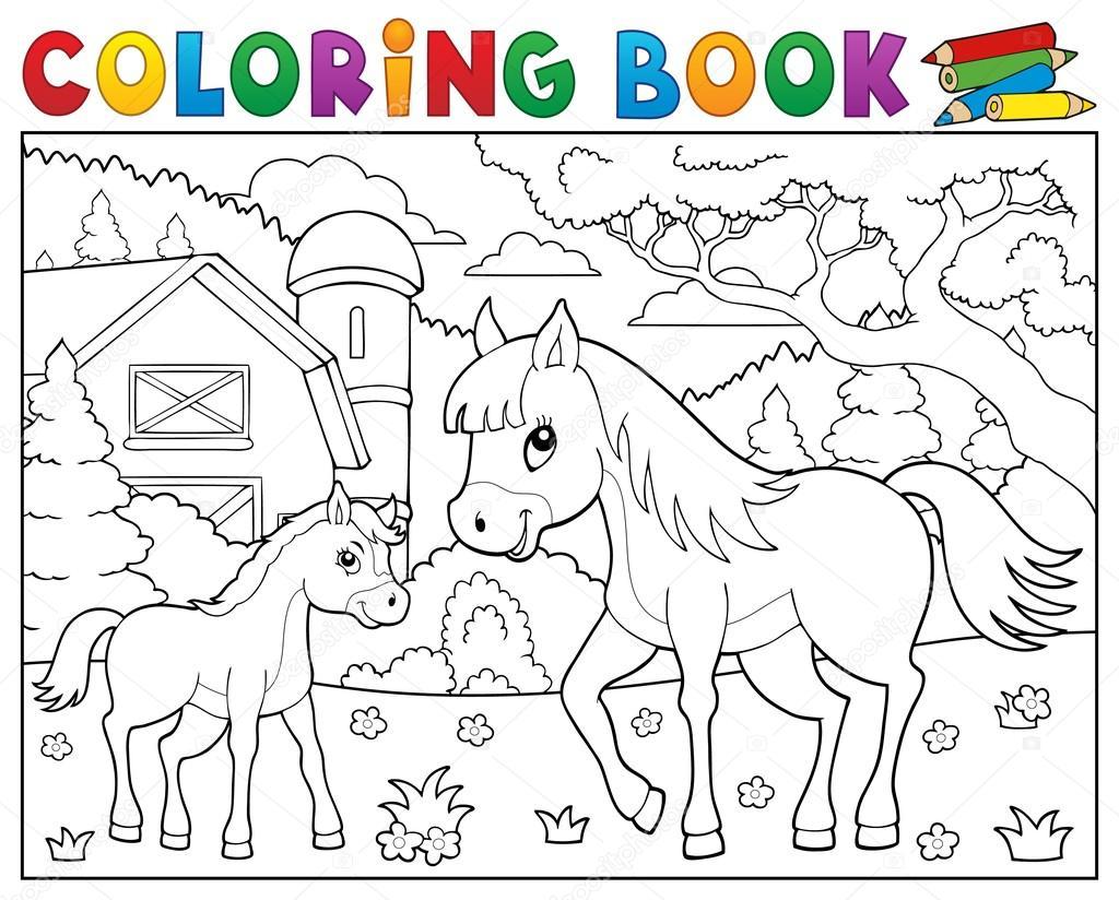 Kleurplaten Van Paarden En Veulens En Ponys.Boek Paard Met Veulen Thema 2 Kleuren Stockvector C Clairev 99637958